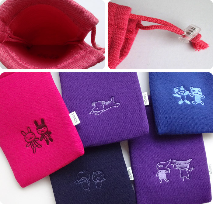 Embrodidered Kinchaku Pouch